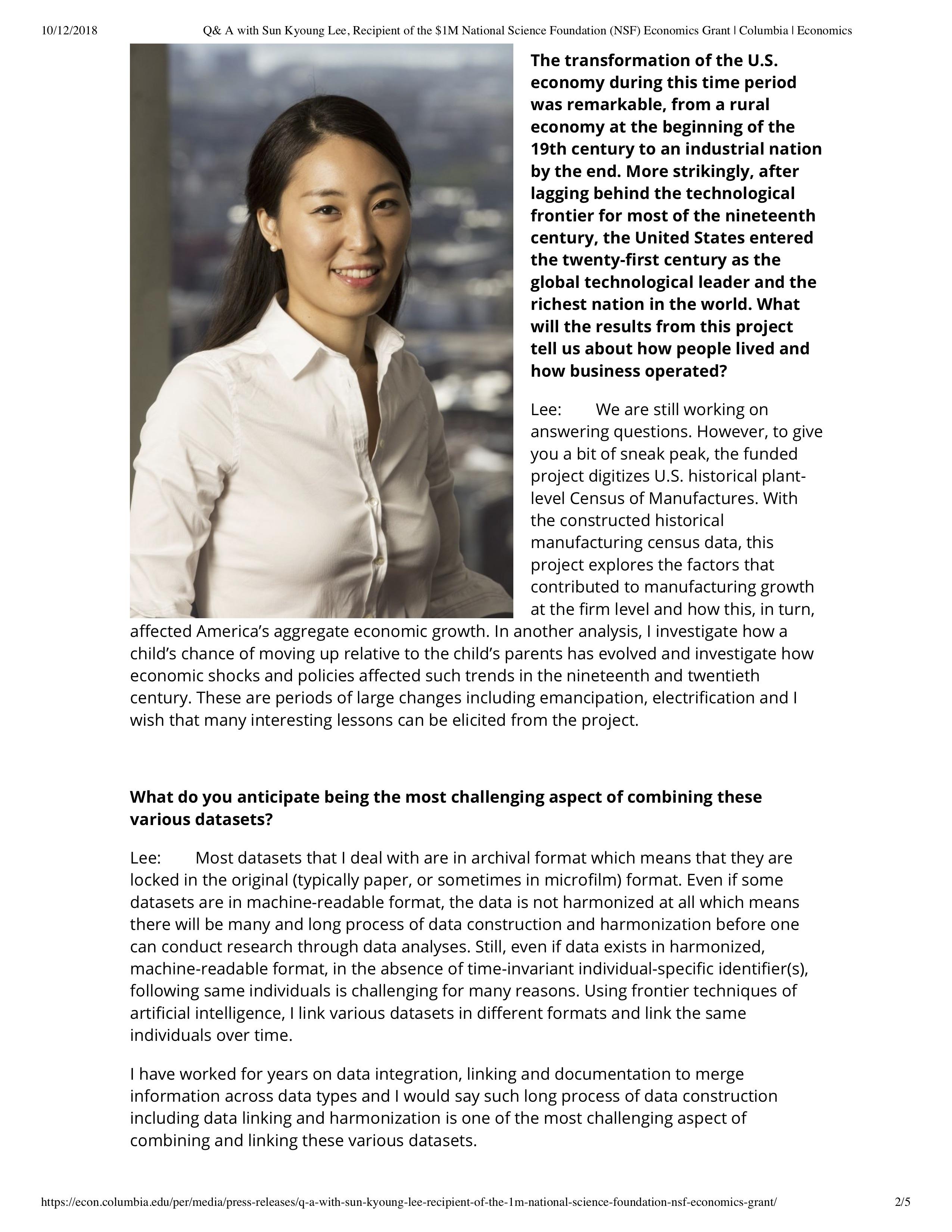 Q& A with Sun Kyoung Lee, Recipient of ...Economics Grant | Columbia | Economics_pp2