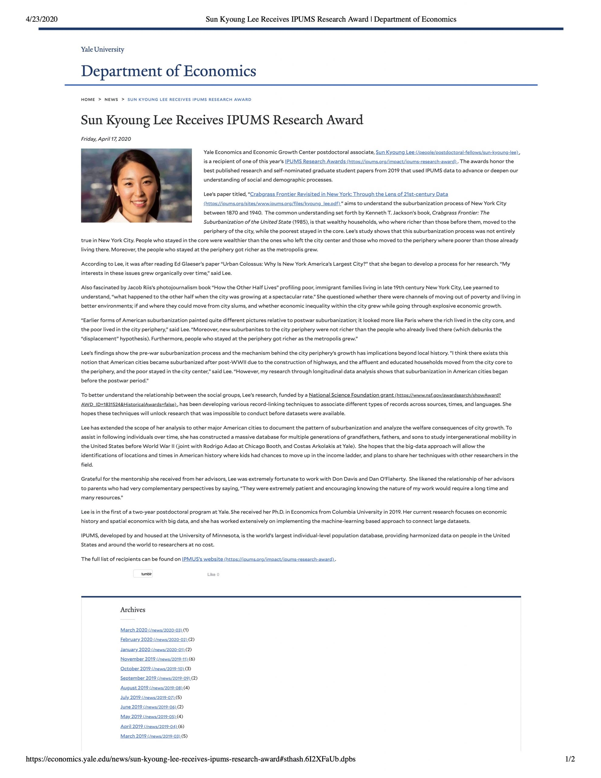 Sun Kyoung Lee Receives IPUMS Research Award | Department of Economics